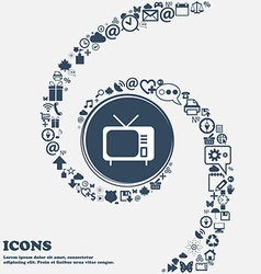 Tv icon in the center around the many beautiful vector