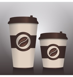 Two coffee to go paper cups vector image