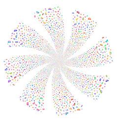 Universal army knife fireworks swirl rotation vector