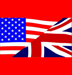 Usa and uk flags vector