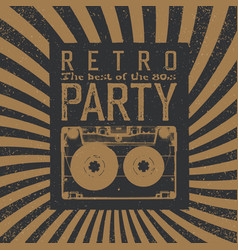 Vintage party leaflet template radial rays vector