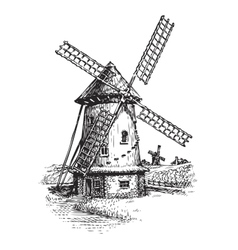 Windmill Hand drawn vintage sketch vector image