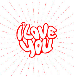 words i love you shaped in heart symbol vector image