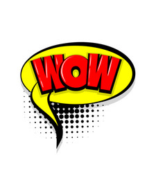 Wow comic text white background vector