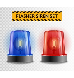 Flasher siren transparent set vector