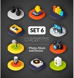 Isometric flat icons set 6 vector image