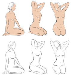 Stylized figures of nude women vector