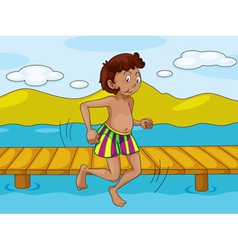 a boy and water vector image