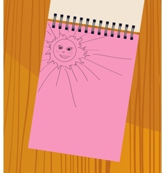 Notebook with the sun vector