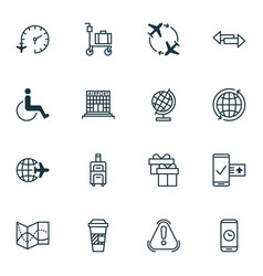 Set of 16 traveling icons includes siren world vector