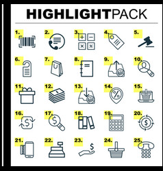 Ecommerce icons set collection of bookshelf vector