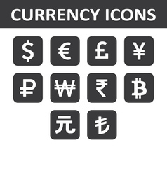 Currency icons set white over black vector