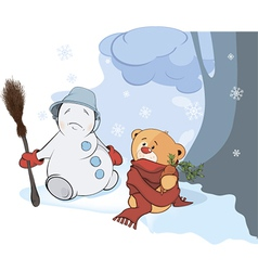 A stuffed toy bear cub and a christmas snowball vector