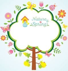 Spring season icons with tree frame shape vector