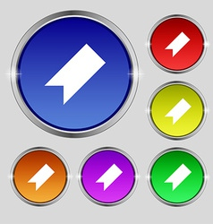 Bookmark icon sign round symbol on bright vector