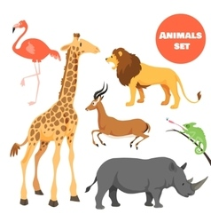Cute african animals set for kids in cartoon style vector