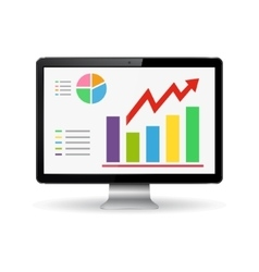 Monitor with graphs on the screen vector image