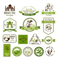 Green ceylon and black tea labels vector