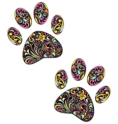 Animal paw print on white background vector