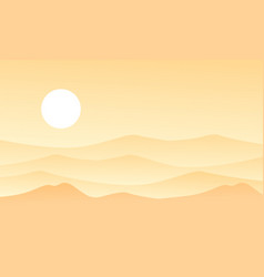 Beauty landscape of desert flat vector