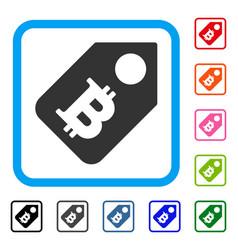 Bitcoin price tag framed icon vector