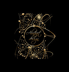 black background with gold abstract shapes vector image vector image