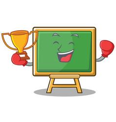 Boxing chalk board character cartoon vector