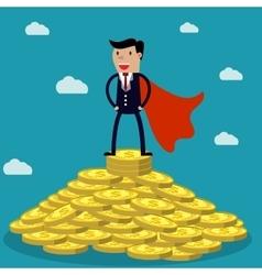 Businessman standing on huge pile of money vector