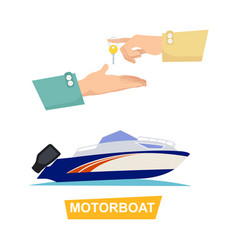 Buying blue speed motorboat on white background vector
