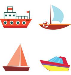 cartoon boats and ships - isolated flat set vector image