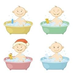 Cartoon children washing in a bath vector image vector image