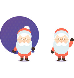cartoon santa claus with bag of gifts postcard vector image