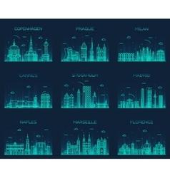 Europe skylines prague cannes madrid line art vector