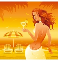Evening beach background with beautiful girl and vector image
