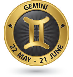 Gemini zodiac gold sign gemini symbol vector image