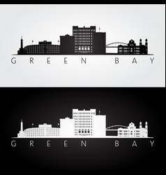 green bay usa skyline and landmarks silhouette vector image vector image