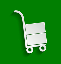 Hand truck sign paper whitish icon with vector