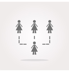 icon button with network of woman inside vector image