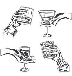 Male Female hand holding glass alcohol drink vector image vector image