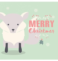 Merry christmas postcard with cute polar fox vector
