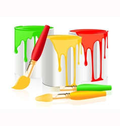Paintbrushes and paintcan vector image