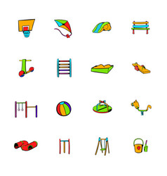 Park playground icons set cartoon vector