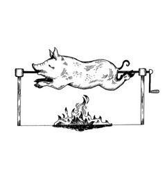 piggy on spit engraving vector image vector image