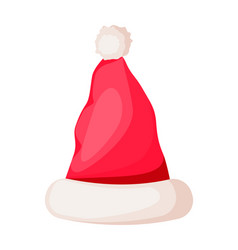 santa claus winter woolen hat isolated on white vector image vector image