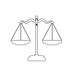 Scales balance sign black dotted icon on vector