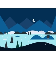 Seamless cartoon nature landscape at night vector