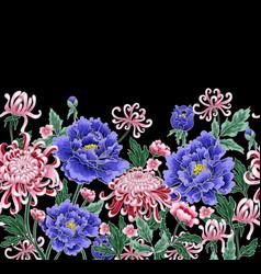 seamless pattern of chrysanthemum and peonies vector image vector image
