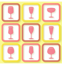 Set of 9 retro icons with wine glasses vector image vector image