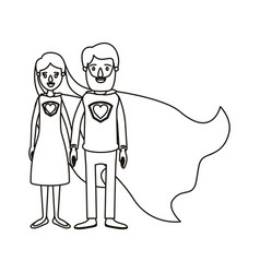 Silhouette cartoon full body couple parents super vector