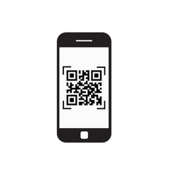 smart phone scanning qr code icon barcode scan vector image vector image